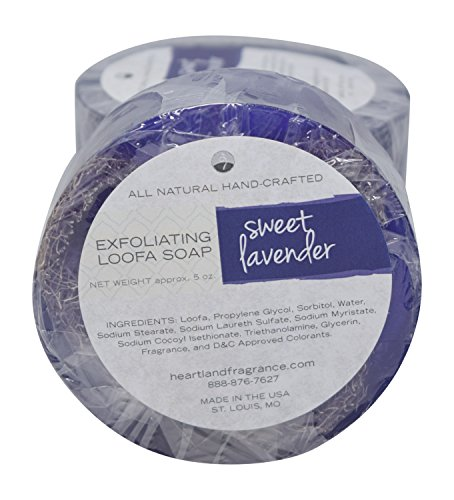 Handmade Exfoliating Loofah Bar Glycerin Soap (5 Oz Each) in Gift Box (Sweet Lavender) (Glycerine Handmade Soap)