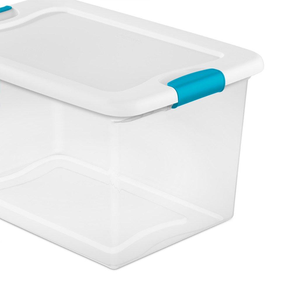 Sterilite 64 Quart Latching Plastic Storage Box, Clear w/ Blue Latches (24 Pack) by STERILITE (Image #5)