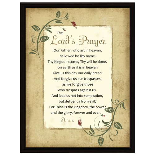 Dexsa Lord's Prayer Wood Frame Plaque with Easel 6.5 inches x 8.5 inches ()