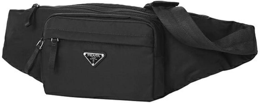 Prada Unisex Marsupio Belt Waist Bag Black Nylon Tessuto Fanny Pack 2VL005