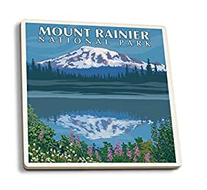 Mount Rainier, Washington - Reflection Lake (Set of 4 Ceramic Coasters - Cork-backed, Absorbent)