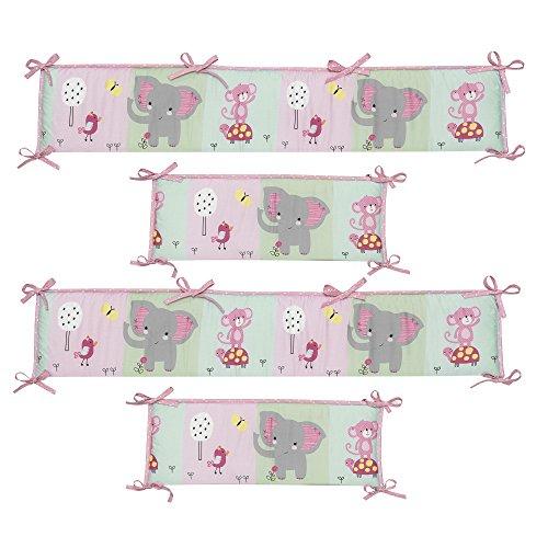 Bedtime Originals Twinkle Toes Multi Jungle 4 Piece Crib Bumper, Pink by Bedtime Originals (Image #1)