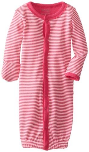 Kushies Baby-Girls Newborn Stripe Convertible Gown, Fuchsia Stripe, 1-3 Months (X-Small)