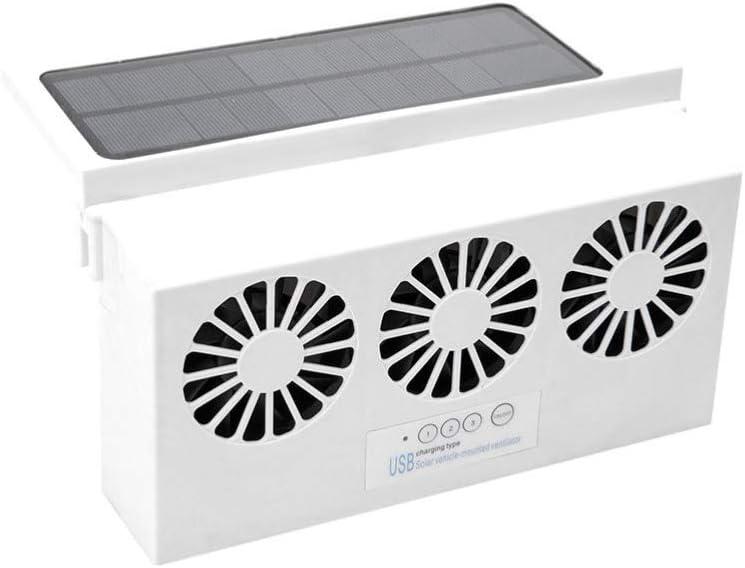 Garneck Ventilador de Coche con Energía Solar Ventilador de Escape de Carga Usb para Automoción Eliminar El Olor Peculiar Dentro Del Coche Blanco