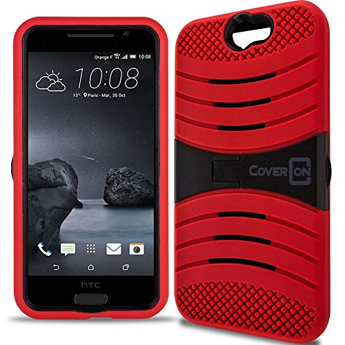 HTC One A9 Case, CoverON [Titan Armor Series] Dual Layer Silicone + Tough Cover Stand Phone Case For HTC One A9 - Red & Black