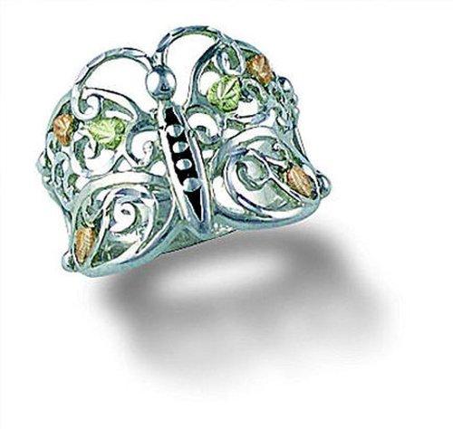 Landstroms Ladies Black Hills Gold on Silver Butterfly Ring - MRLLR3000