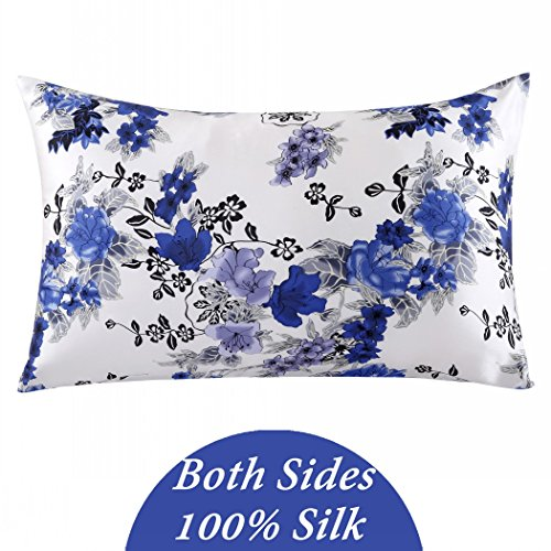 ZIMASILK 100% Mulberry Silk Pillowcase for Hair and Skin Health, Both Side Silk,Floral Print, 1pc (King 20''x36'', pattern1),Gift Box
