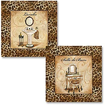 PosterArtNow Giraffe Print Bath Pieces; Salle De Bain, Lavabo French Inspired Prints; Two 12x12's