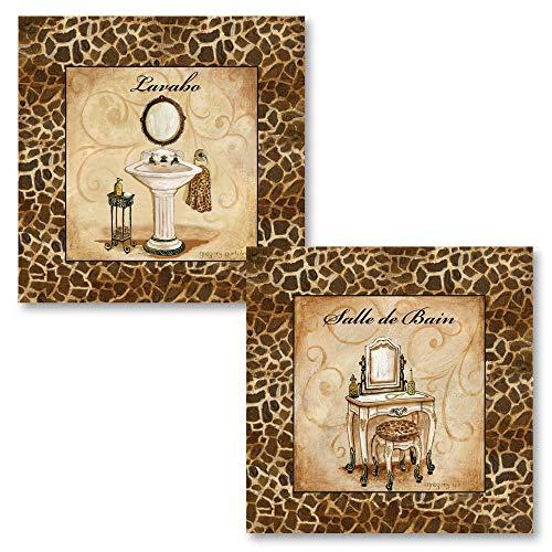 PosterArtNow Giraffe Print Bath Pieces; Salle De Bain, Lavabo French Inspired Prints; -