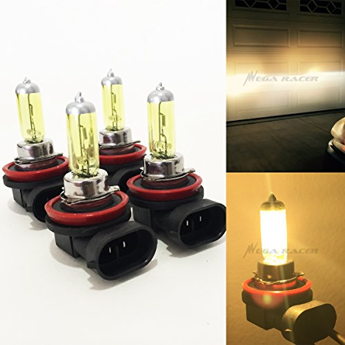 Combo 2 Pair H11 (Fog Lamp) 100W Super Yellow 3000K Xenon Halogen Headlight Light Bulb Factory Stock OEM Replacement Car
