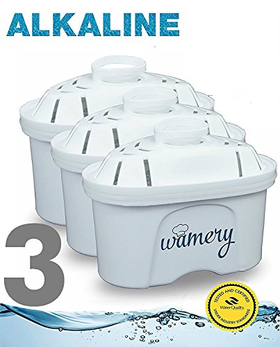 Water Filter Replacement 3Pack. Fits Wamery, Lake Ind, Mavea Jugs. NSF ANSI Certified Cartridges. Smart Water Filter & softener to get clear water from the kitchen faucet. (ALKALINE: Ceramic) by Wamery