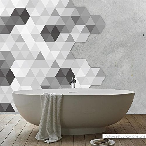 "Amazing Wall Simple Geometry Wall Sticker Black And White Grey Hexagon Floor Sticker Waterproof Diy Floor Tile 4.53x7.87"" 10 Pcs/Set by Amazing Wall"