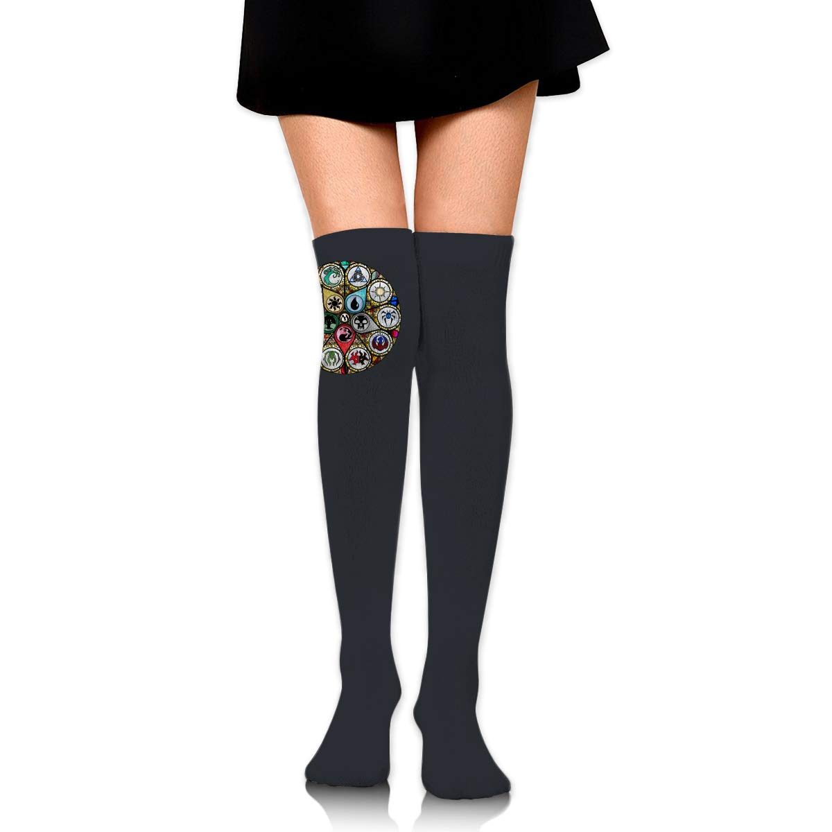 MTG Stained Glass Long Tight Thigh High Socks Over The Knee High Boot Stockings Leg Warmers
