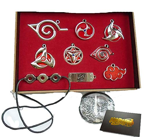 Touirch Anime Naruto Leaf Headband Sharingan of Necklace Pendant Toys Set - Tsunade Necklace Naruto