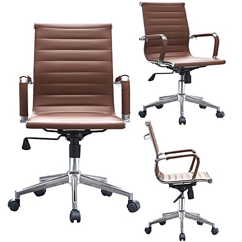 2xhome Brown Ergonomic Executive Chair Mid back PU Leather Arm Rest Tilt Adjustable Height With Wheels Arms Ergonomic Swivel Task Computer Desk Office Conference Room Guest Lumbar Support Mid Century
