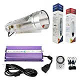 Hydroplanet™ 600w Air Cooled Tube Hood Set Horticulture Hydroponic 1000W 600W 400W Watt Grow Light Digital Dimmable ballast System for Plants (600W) …