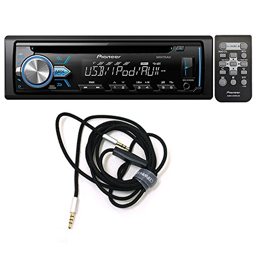 Pioneer DEH-X2900UI Single DIN In-Dash CD/AM/FM Car Stereo Receiver w/ Variable Color Illumination + CVM2M6MIC Audio Video Cable 3.5mm hands-free audio cable with built in microphone, 6ft. - Cerwin Vega Dj