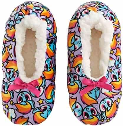 d7d3c999c My Little Pony Rainbow Dash Girls' Babba Fuzzy Slipper Sock Fleece Faux Fur