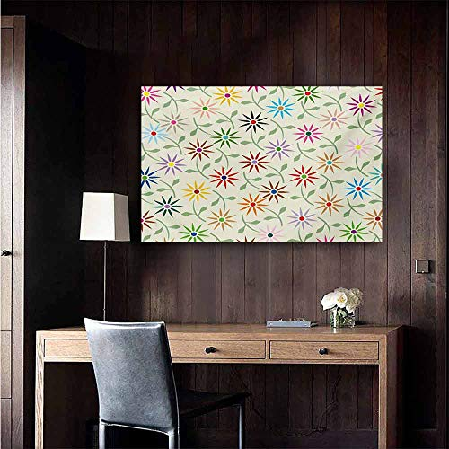 - duommhome Floral Modern Oil Paintings Abstract Colorful Graphic Flowers with Leaves Repeating Pattern Botanic Garden Art Canvas Wall Art 24
