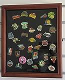 Pin/Medal Display Case Shadow Box, glass door, wall mount, Walnut Finish (PC02-WA)
