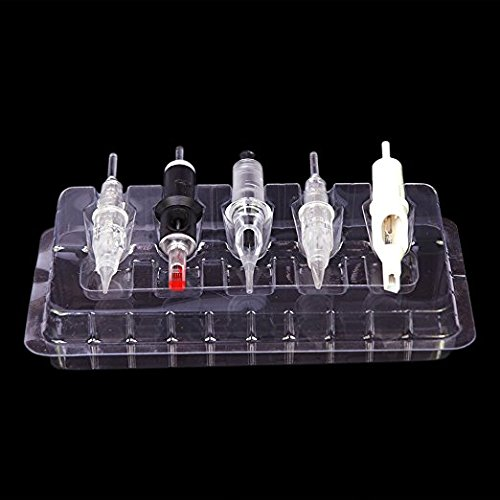 (Disposable DGT Plastic Tattoo Cartridge Needle Holder Stand 50pcs Trays Clear)