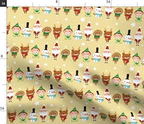 Christmas Fabric - Santa Claus Reindeer Rudolph Saint Nick Elf Snowman Print on Fabric by The Yard - Sport Lycra for Swimwear Performance Leggings Apparel Fashion -