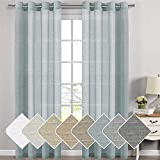52-inch by 108-inch Set of 2 Energy Saving Home Decorative Privacy Window Treatment Made of Rich Linen Poly Mixed Sheer Drapery Curtain Panels with Nickel Grommets, Teal