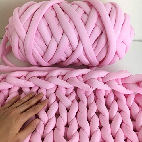 Cotton yarn for arm knitting - Vegan braid yarn to make hand knit blanket - Giant Jumbo Yarn - Super chunky cotton yarn - machine washable (Best Yarn To Make A Blanket)