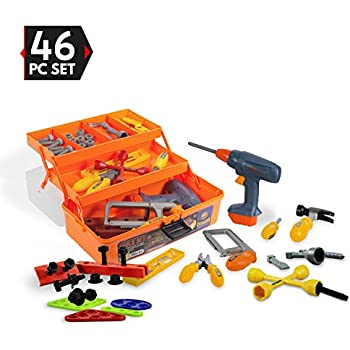 46 Piece Kids Toy Tool Set With Tool Box And Toy Power Tools - Kids Pretend Play Construction Tool Box, Workshop Accessories Toy Toolbox Set