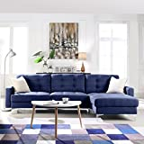 Modern Tufted Linen Fabric Sectional Sofa, L-Shape Couch with Wide Chaise Lounge (Blue)