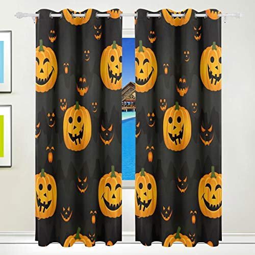 Chen Miranda Halloween Pumpkin Scary Face Printed Blackout Window Curtain 2 Panel Set - Grommet Top - Thermal Insulated Room Darkening Curtains Drapes for Bedroom Living Room 84 x 55 inch ()