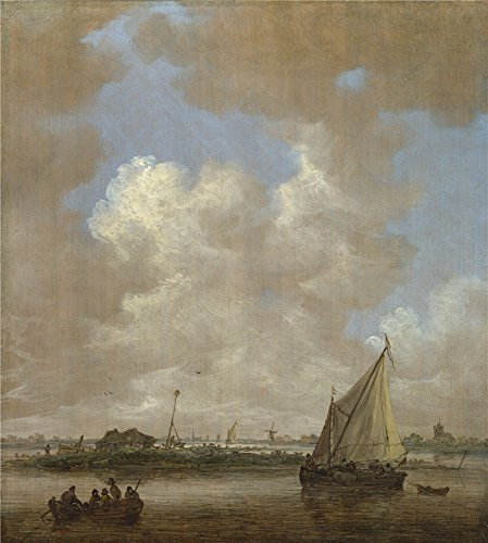 Oil Painting 'Jan Van Goyen A River Scene With A Hut On An Island' 10 x 11 inch / 25 x 28 cm , on High Definition HD canvas prints - The Vouchers Hut