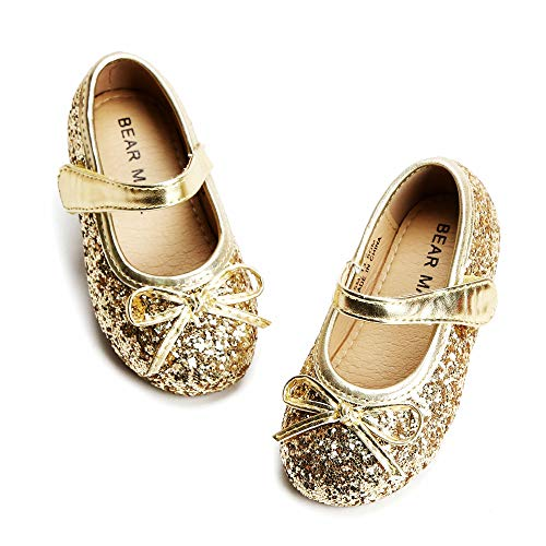 Bear Mall Toddler Little Girls Ballet Flat Shoes Bowknot Mary Jane Shoes for Wedding Party Princess Dress Shoes (9 M US Toddler, Glitter Gold) (Gold Shoes Toddler)