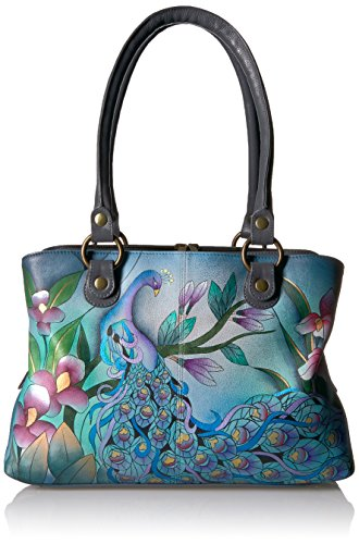Anna by Anuschka Handpainted Leather Women's Satchel, Mpk-Grey-Midnight Peacock-Grey by Anna by Anuschka