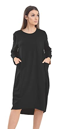 1d3ea497b39b Momo&Ayat Fashions Ladies Cotton Turn-up Sleeve Lagenlook Pocket Baggy Midi Dress  UK Size 8