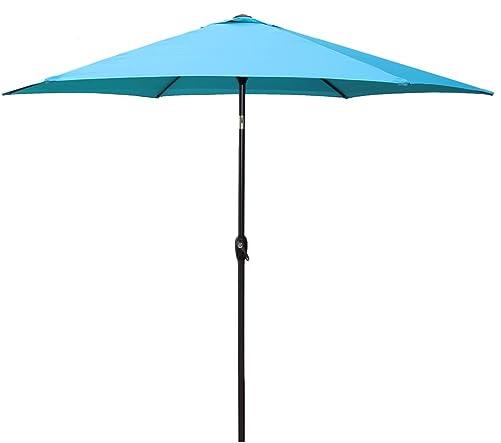 Le Papillon 9 ft Outdoor Patio Umbrella Aluminum Table Market Umbrella 6 Ribs Crank Lift Push Button Tilt, Blue