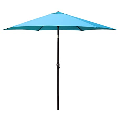 Le Papillon 9 ft Outdoor Patio Umbrella Aluminum Table Market Umbrella 6 Ribs Crank Lift Push Button Tilt, Blue