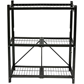 Beau Origami R3 01 General Purpose 3 Shelf Steel Collapsable Storage Rack, Small