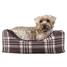 FurHaven Pet Dog Bed | Oval Terry Fleece and Plaid Pet Bed for Dogs & Cats, Small, Java Brown