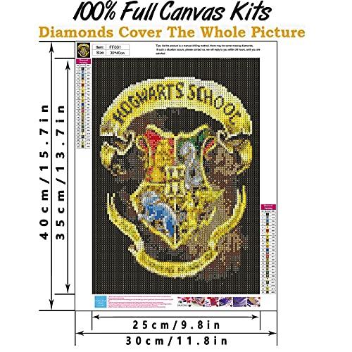 Diamond Painting Kits for Adults, Diamond Painting Magic Badge Harry Magic Boy Potter Round Full Drill Diamond Art Kits for Home Wall Decor 12X16Inch