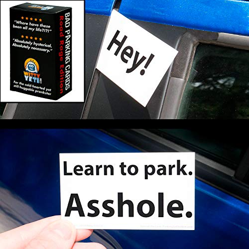 Witty Yetis Bad Parking Business Cards 5x 18+ Designs, 50 Note Pack. Shame the Idiot Parkers of the World with Swift Justice. Funny Revenge for Mean Road Ragers & Morons. - Bad Tickets Parking