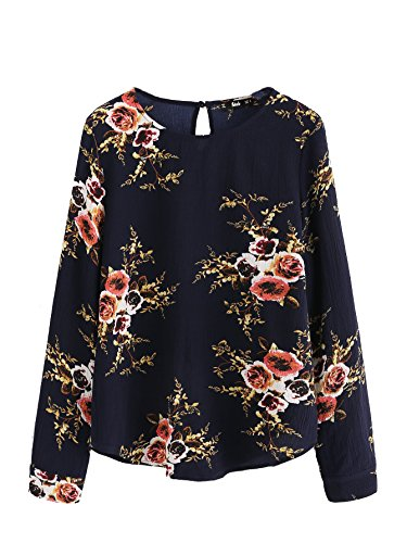 Romwe Women's Top Long Sleeve Flower Print Floral Keyhole Back Curve Hem Blouse Tee Shirt Navy S
