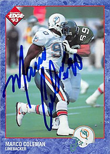 Edge Collectors Autographed Card (Autograph 124232 Miami Dolphins 1993 Collectors Edge No. 112 Marco Coleman Autographed Football Card)