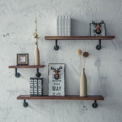 Industrial Pipe Shelving Bookshelf Rustic Modern Wood Ladder Wall Shelf Pipeline Shelves Decorative Vintage Hung