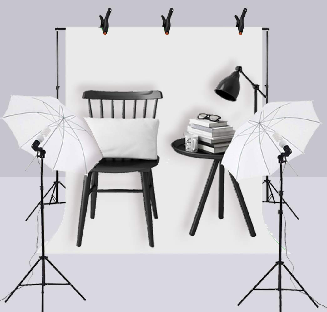 Upland 33-Inch 2 Umbrella Lights with Backdrop System, for Photo Photography, Video Studio Lighting, 1 Backdrop Support Stand (6.6x6.6 Feet), 3 Backdrops (5.4x 10 Feet) by Upland (Image #6)