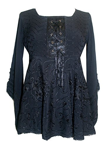 860bf5d5b9 Agan Traders 211 B Medieval Vintage Long Sleeve Corset Top Blouse Tunic