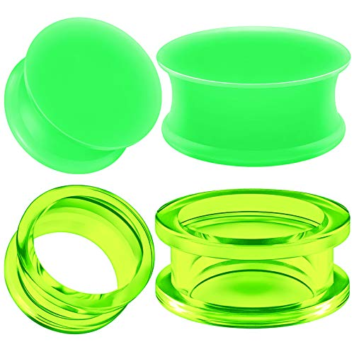- BIG GAUGES 2 Pairs Green Silicone 3 4 Inch 20 mm Double Flared Saddle Piercing Stretcher Ear Plugs Acrylic External Flesh Tunnel BG5720