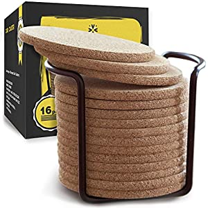 Cork-Coasters-with-Round-Edge-4-inches-16pc-Set-with-Metal-Holder-Storage-Caddy--Thick-Plain-Absorbent-Heat-Resistant-Reusable-Saucers-for-Cold-Drinks-Wine-Glasses-Plants-Cups-Mugs