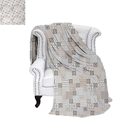 (Weave Pattern Blanket Oriental Checkered Pattern Grid Style Patchwork Design Mosaic Ornamental Design Custom Design Cozy Flannel Blanket 90