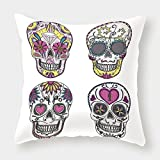 iPrint Cotton Linen Throw Pillow Cushion Cover,Skull,Colorful Ornate Mexican Sugar Skull Set with Flower and Heart Pattern Calavera Humor Art,Multi,Decorative Square Accent Pillow Case
